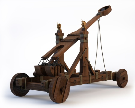 An ancient Norman Catapult isolated on a white background  Clipping path is included