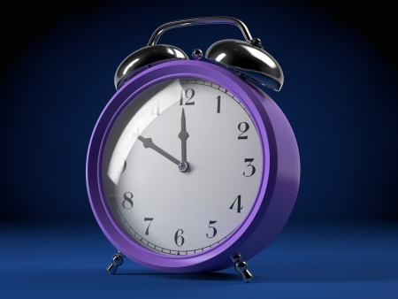 Purple alarm clock on blue backdrop