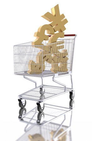 Currency symbols in a shopping cart on a white background  Stock Photo - 17466606