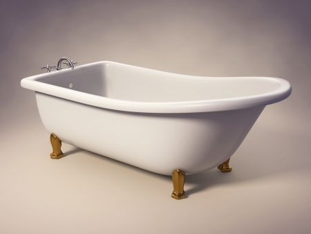 A cast-iron standing bathtub on white with clipping path included  Stock Photo