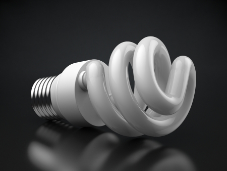 Energy efficient light bulb on a reflective surface