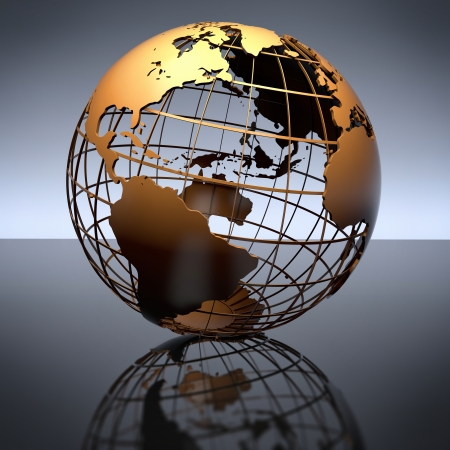 A metal globe on a reflective studio background  Includes clipping path  Stock Photo
