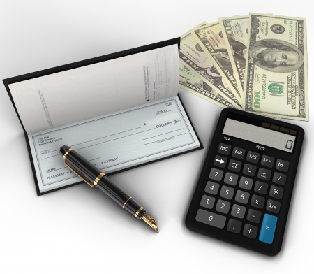 A photo of a check book, fountain pen, calculator   100 dollar bills on white