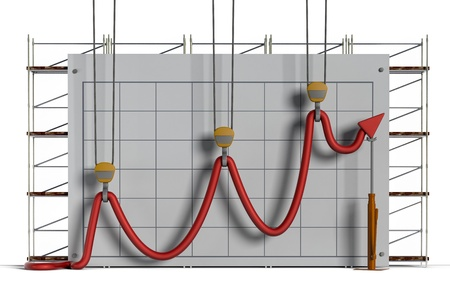 Business concept showing construction equipment attempting to hold a limp chart line into what appears to be an upward trend against a chart and scaffolding background  Stock Photo