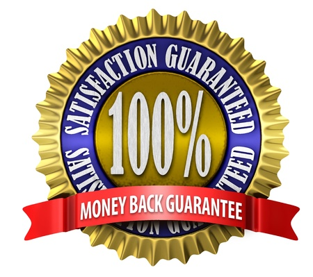 An illustration of a 100 percent satisfaction guaranteed seal on white