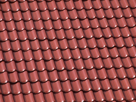 Ceramic tiles on building attic photo