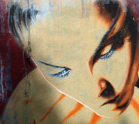 Girl face in graffiti