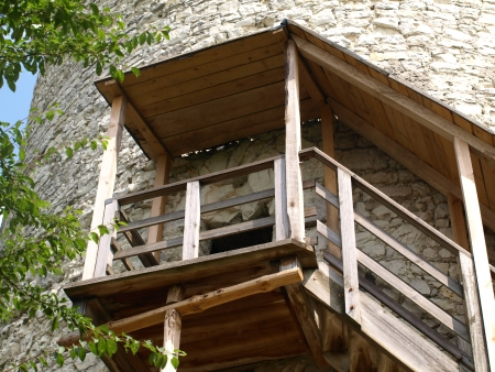 Wooden stairs in old round tower in Kazimierz Dolny, Poland Stock Photo - 15917803