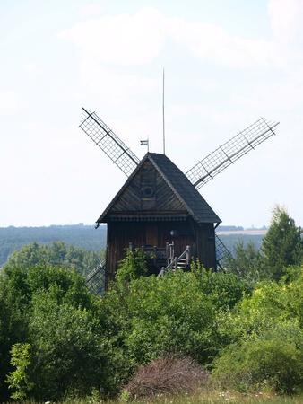 kazmierz dolny:  Old wooden windmill built in 1911 in Mecmierz, small village near Kazimierz Dolny in Poland Stock Photo