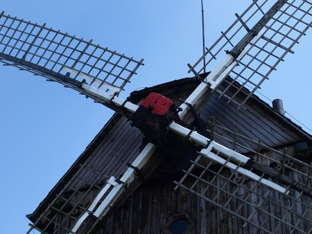 Old wooden windmill built in 1911 in Mecmierz, small village near Kazimierz Dolny in Poland Stock Photo - 12954967