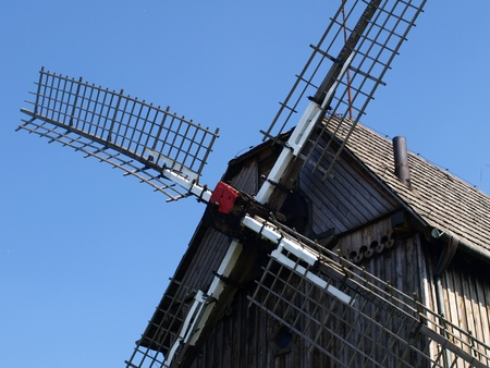 Old wooden windmill built in 1911 in Mecmierz, small village near Kazimierz Dolny in Poland Stock Photo - 12954969