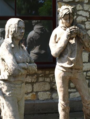 Sculptures near artistic school in Kazmierz Dolny, Poland Editorial