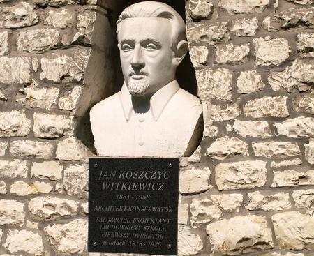 kazmierz dolny: Sculpture bust of Jan Koszyc Witkiewicz - founder of school in Kazmierz Dolny, Poland