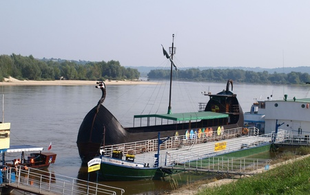 Touristic ship in Vistula River in Kazimierz Dolny, Poland