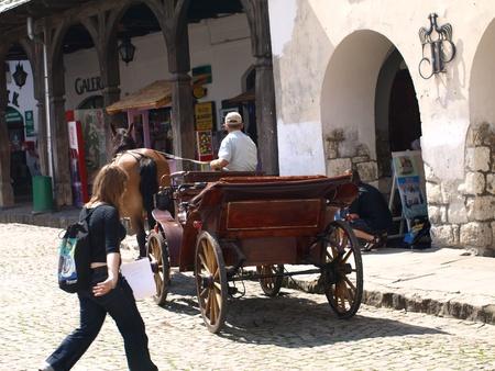 kazimierz dolny: Carriage for tourists in Kazimierz Dolny