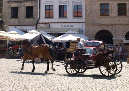 kazimierz dolny: Carriage for tourists in Kazimierz Dolny, Poland Editorial