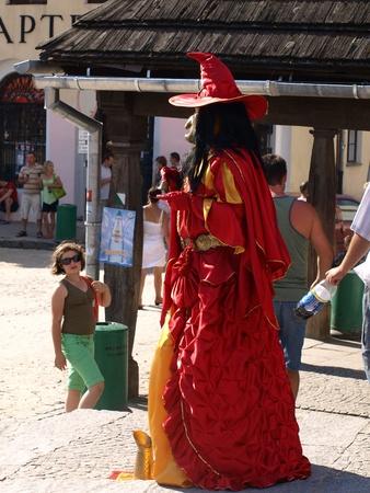 kazimierz dolny: Street actor on Old Market Place in Kazimierz Dolny, Poland Editorial