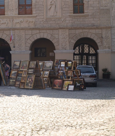 Art Gallery on street on Old Market Place in Kazimierz Dolny, Poland
