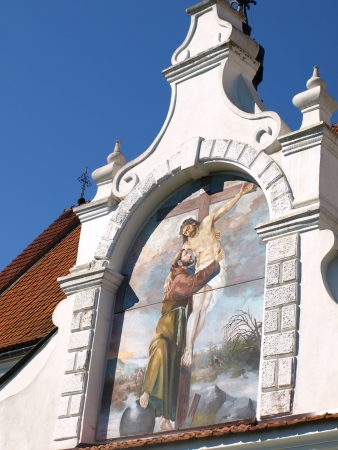 kazimierz dolny: Fresco with Jesus Christ and religion scenes on wall in monastery in Kazimierz Dolny, Poland
