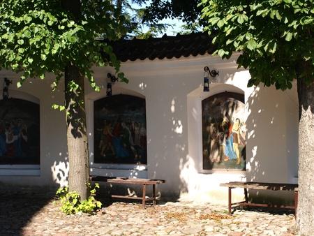 lubelskie: Frescos with Jesus Christ and religion scenes on wall in monastery in Kazimierz Dolny, Poland