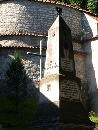 Stoned monument with patriotic inscription near monastery in Kazimierz Dolny, Poland