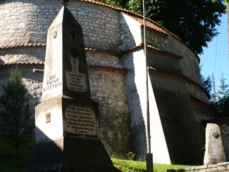 stoned: Stoned monument with patriotic inscription near monastery in Kazimierz Dolny, Poland