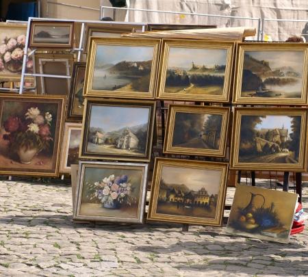 Paints on street in Kazimierz Dolny, Poland
