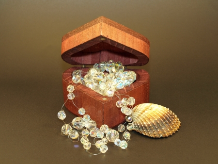 Jewerly in wooden case Stock Photo