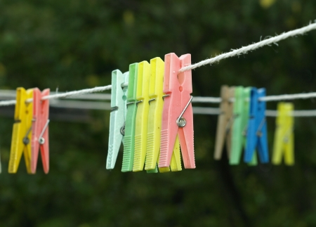 clamps: Colored clamps for laundry Stock Photo