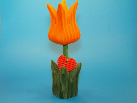 Wooden tulip with red heart