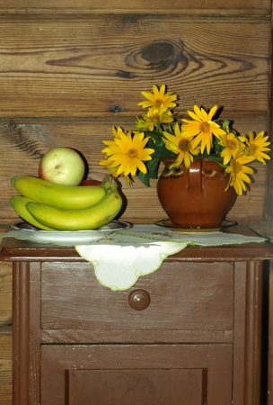 Bouquet and fruits - bananas and apple
