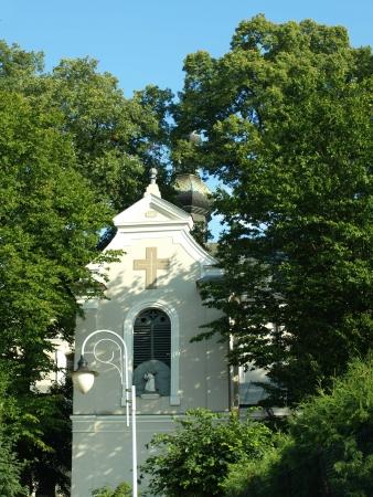 lubelskie: Urzedow, Poland - August 04, 2012: Old church with belfry in Urzedow, Poland Editorial