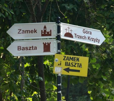 kazimierz dolny: Touristic signpost in Kazimierz Dolny, Poland Stock Photo