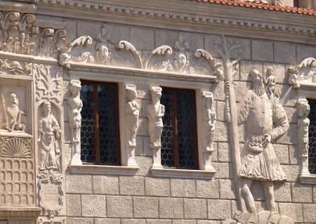kazmierz dolny:  Kazimierz Dolny, Poland - July 08  Old house with decorative architecture details on Old Market Place in Kazimierz Dolny on July 08, 2013 in Kazmierz Dolny, Poland