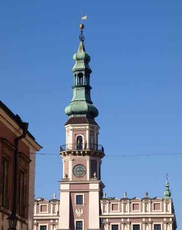 lubelskie: Zamosc, Poland - September 08  Old town hall with tall tower in old city center in Zamosc on September 09, 2013 in Zamosc, Poland