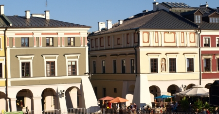Zamosc, Poland - September 08  Old Market Place in old city center in Zamosc on September 09, 2013 in Zamosc, Poland