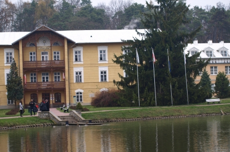 lubelskie: Naleczow, Poland - November 11  Old wooden palace in park in health resort on November 11, 2013 in Naleczow, Poland