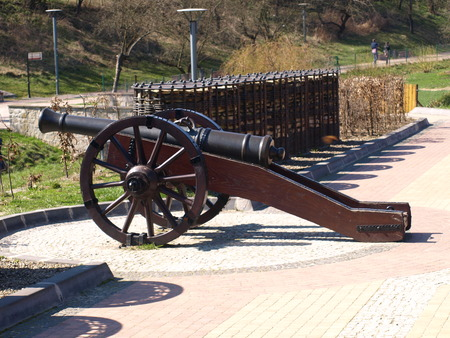 Sandomierz, Poland - March 30  Cannon made with metal and wood in park on March 30, 2014 in Sandomierz, Poland Editorial