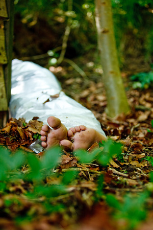 murdered: Bare feet of a murder victim hidden in woodland with the wrapped legs of the body visible between trees in leafy detritus in a conceptual image Stock Photo