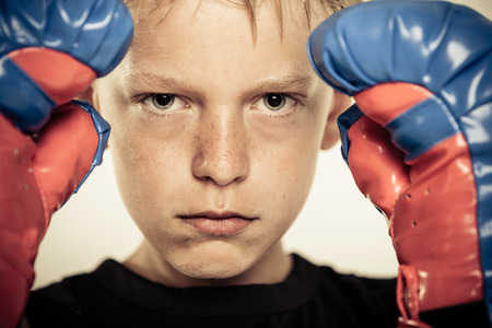 pugilist: Close up on single serious blond sweating child holding up hands in blue and red boxing gloves with serious expression