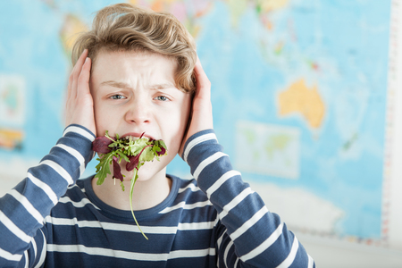 Distressed boy in blue and white striped shirt with hands on ears with a mouth full of lettuce greens Imagens
