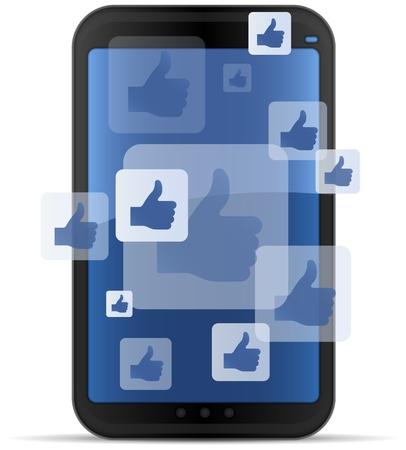 モバイルソーシャルネットワー キング  イラスト・ベクター素材