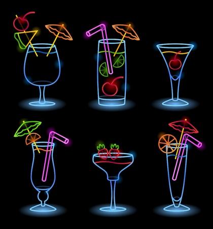 Neon Tropical Drinks Stock Vector - 11187273