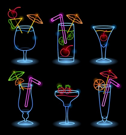 Neon Tropical Drinks Illustration