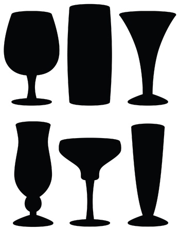 Drink Glass Silhouettes Vector