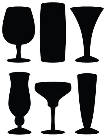 Drink Glass Silhouettes Ilustração