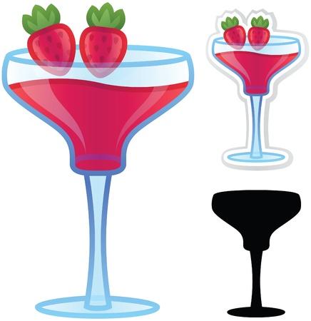 happy hours: Daiquiri � la fraise Boisson Illustration