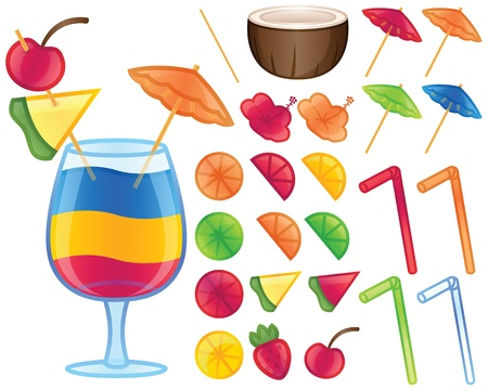 Tropical Drink Elements Vector