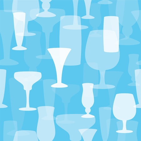 happy hours: Seamless Drinking Glass Background. Illustration