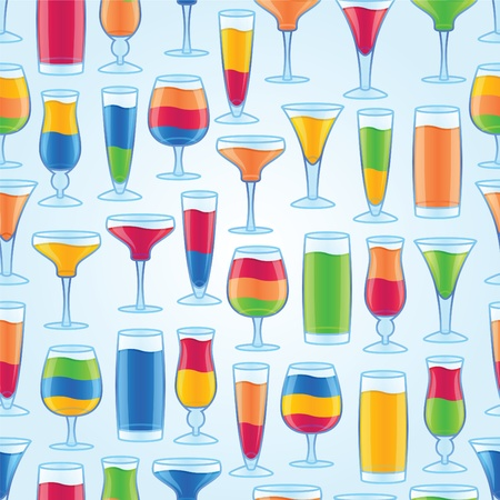Seamless Alcoholic Drinks Background Illustration